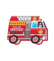 """Einladungskarten """"Feuerwehrauto"""" - 8 Stück"""