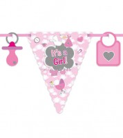 """Wimpelgirlande mit Storch """"It's a Girl"""" - 6 m"""