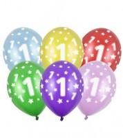 "Metallic-Luftballons ""1"" mit Sternen - 6 Stück"