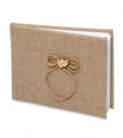 Gästebuch aus Jute mit Holzherzen