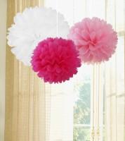 Pom Pom Set - weiß, rosa, pink - 3-teilig