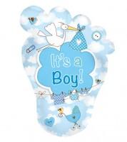 "Babyfüßchen-Folienballon mit Storch ""It's a Boy"""