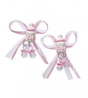 Schleife mit Babyfläschchen und Schnuller - rosa - 5 cm - 2 Stück