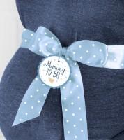 """Babybauch-Schleifenband """"Mummy to be"""" - blau - 2 m"""