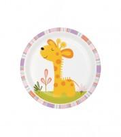 """Kleine Pappteller """"Tierfreunde"""" - Giraffenbaby - 8 Stück"""