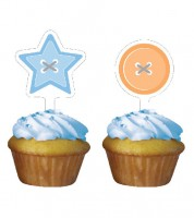 "Cupcake-Topper ""Cute as a Button - Boy"" - 12 Stück"