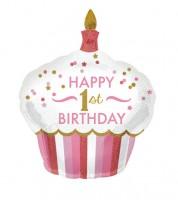 "Supershape-Folienballon Cupcake - ""Happy 1st Birthday"" - rosa/gold"