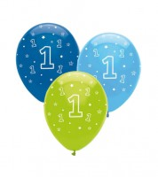 "Luftballon-Set ""1"" - hellblau, hellgrün, dunkelblau - 6 Stück"