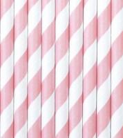 Papierstrohhalme gestreift - rosa - 10 Stück