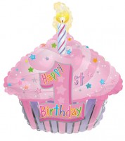 "SuperShape-Folienballon Cupcake ""Happy 1st Birthday"" - rosa"