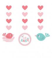 "3er-Motivgirlande ""Hello Baby - rosa"""