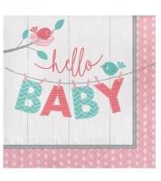 "Servietten ""Hello Baby - rosa"" - 16 Stück"