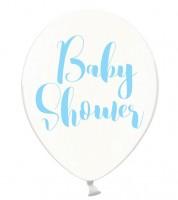 """Luftballons """"Baby Shower"""" - kristall/himmelblau - 6 Stück"""