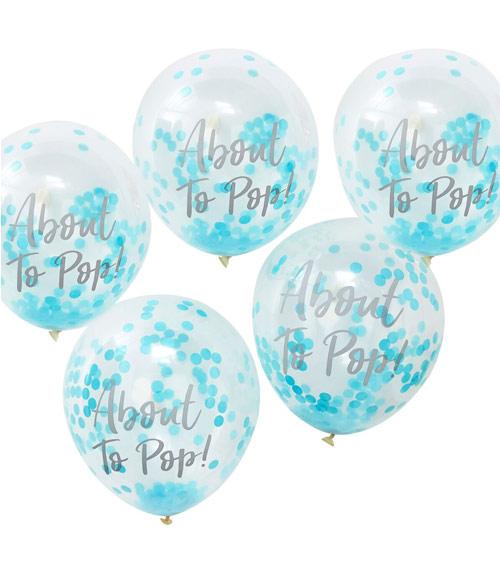 transparente ballons mit blauem konfetti about to pop 5 st ck. Black Bedroom Furniture Sets. Home Design Ideas