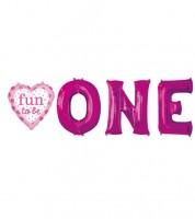 "Folienballon-Set ""Fun to be One"" mit Herz - pink"