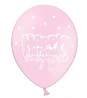 "Luftballons ""Happy Birthday baby girl!"" - rosa - 6 Stück"