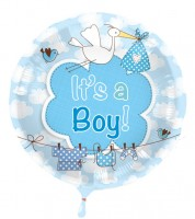 "Runder Folienballon mit Storch ""It's a Boy"""