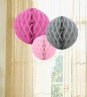 Wabenball Set - fuchsia, grau, rosa - 3-teilig