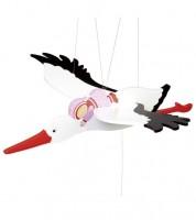 """Schwingtier """"Storch mit Baby"""" - rosa - 54 cm"""