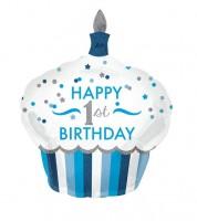 "Supershape-Folienballon Cupcake - ""Happy 1st Birthday"" - blau/silber"