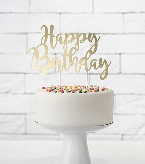 """Tortenstecker aus Papier """"Happy Birthday"""" - gold metallic"""