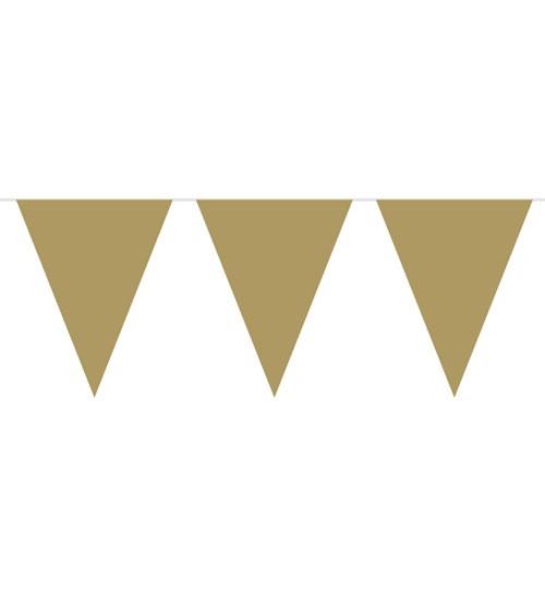 Wimpelgirlande aus Kunststoff - gold - 10m