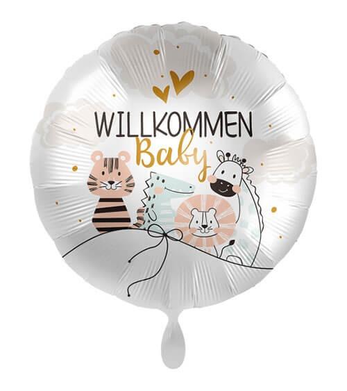"""Folienballon mit Tieren """"Willkommen Baby"""" - 43 cm"""