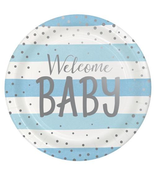 """Pappteller """"Hellblau und Silber"""" - Welcome Baby - 8 Stück"""