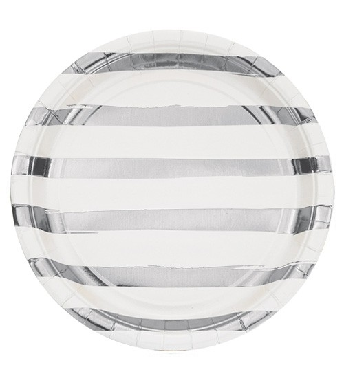 Pappteller - weiß/silber - 8 Stück