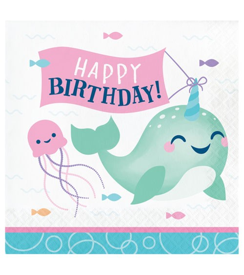 """Servietten """"Narwal-Party"""" - Happy Birthday - 16 Stück"""