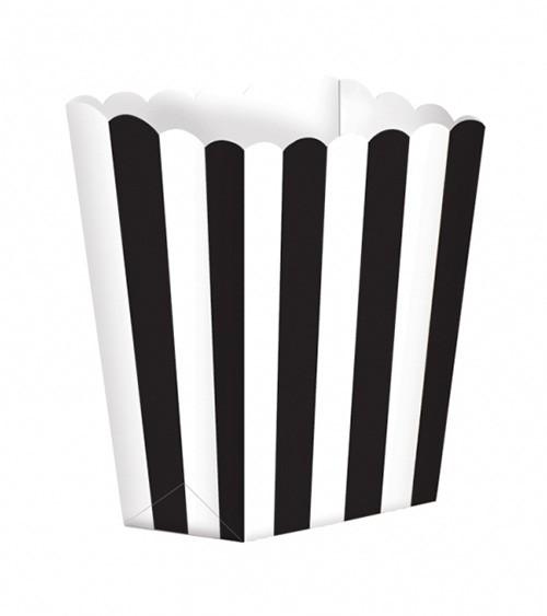 Popcornboxen mit Streifen - schwarz - 5 Stück