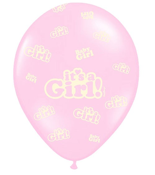 "Luftballons ""It's a Girl!"" - rosa - 6 Stück"