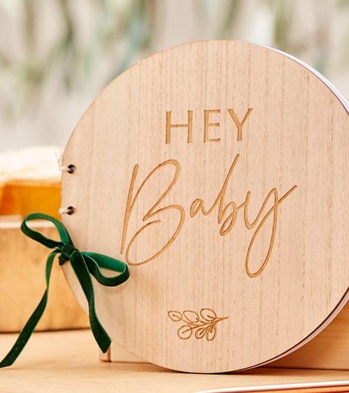 "Rundes Holz-Gästebuch ""Hey Baby"" mit Samtschleife"