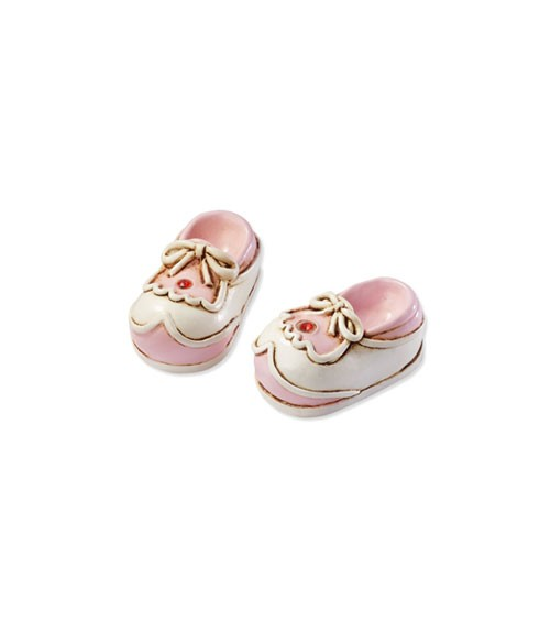 Babyschuhe aus Polyresin - rosa - 3 cm - 2 Stück
