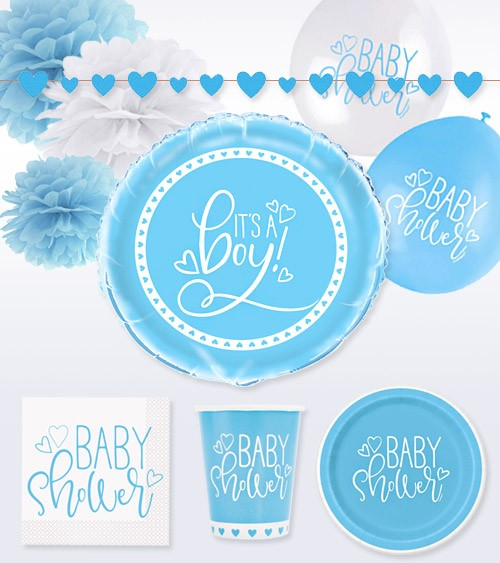 "Deko-Set ""Baby Shower"" - blau - 47-teilig"