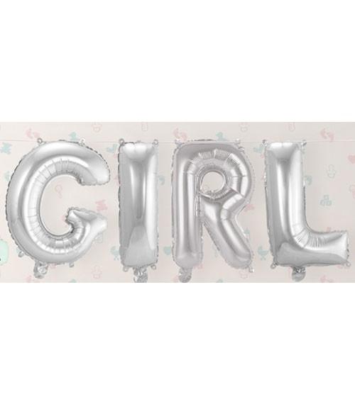 "Folienballon-Set ""GIRL"" - silber - 36 cm"