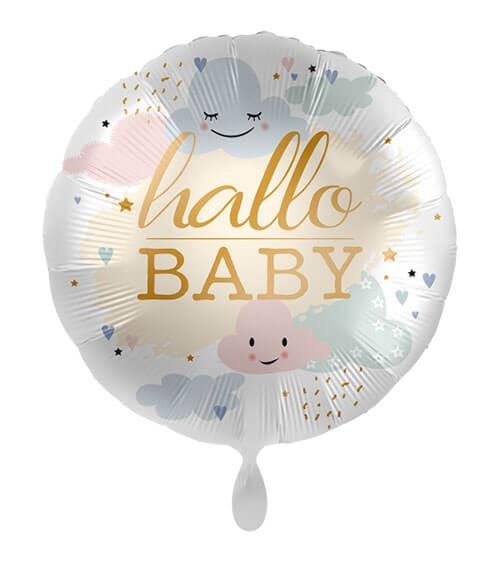 """Folienballon mit Wolken """"Hallo Baby"""" - 43 cm"""