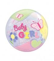 "Kugelballon ""Baby Girl"" mit Schmetterlingen - 56 cm"