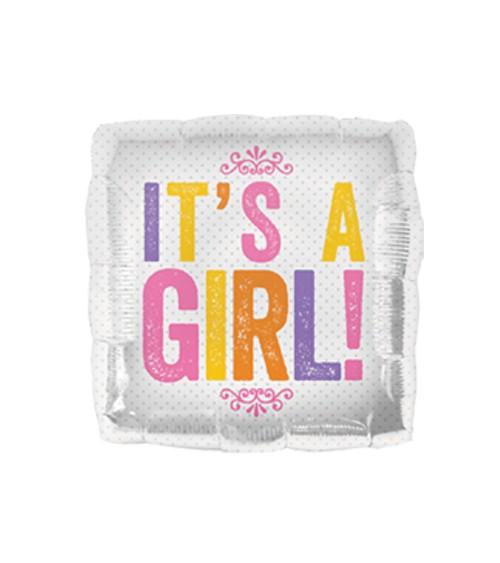 """Eckiger Folienballon """"IT'S A GIRL!"""""""