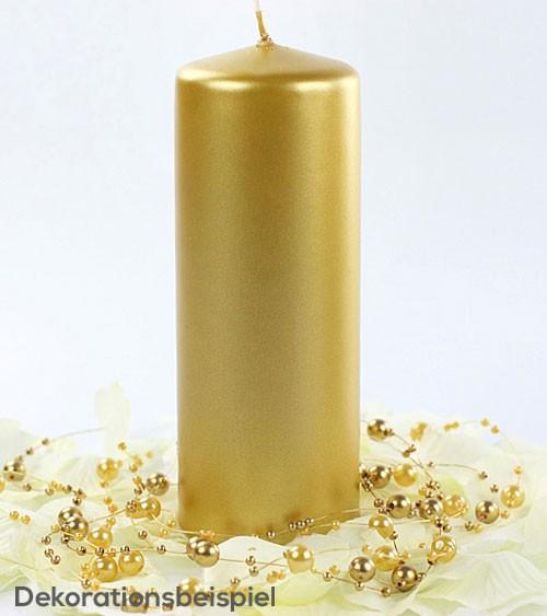 Stumpenkerzen - gold metallic - 15 x 6 cm - 6 Stück