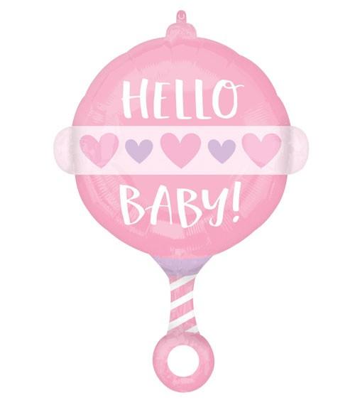 "Rassel-Folienballon ""Hello Baby Girl"" - 43 x 60 cm"