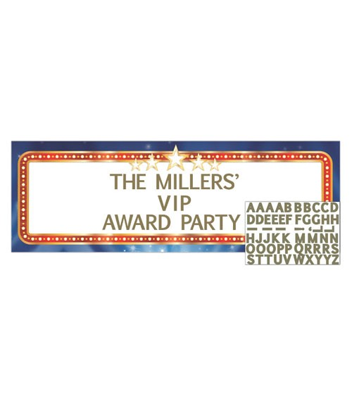 """Individualisierbarer Partybanner """"Hollywood Lights"""" - 152,4 cm"""