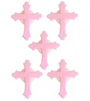 """Zuckerdekor """"Kreuz"""" - rosa - 5 Stück"""