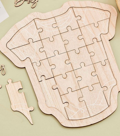 """Puzzle-Gästebuch """"Babybody"""" aus Holz - 31,5 x 32,7 cm"""