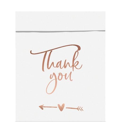 """Papiertüten """"Thank You"""" - weiß/rosegold - 6 Stück"""
