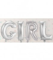 "Folienballon-Set ""GIRL"" - silber - 36 cm"