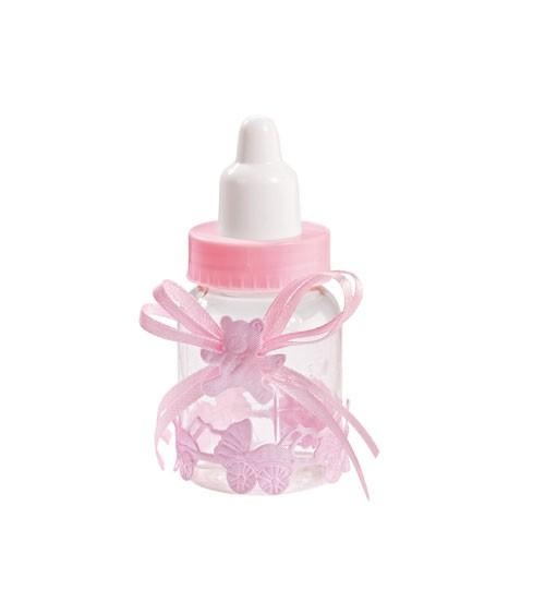 Kleine Babyflaschen aus Plastik mit Verzierung - rosa - 3 Stück