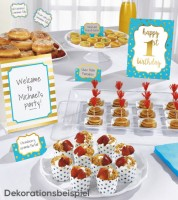 "Buffet-Deko-Kit ""1st Birthday"" - türkisblau/gold - 12-teilig"