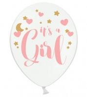 """Luftballons """"It's a Girl"""" - mit Herzen und Sternen - 6 Stück"""