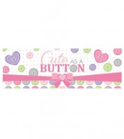 "Großer Partybanner ""Cute as a Button - Girl"" - 152 cm"